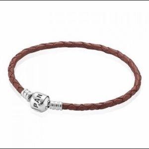 Pandora Brown Single Braided Leather Bracelet